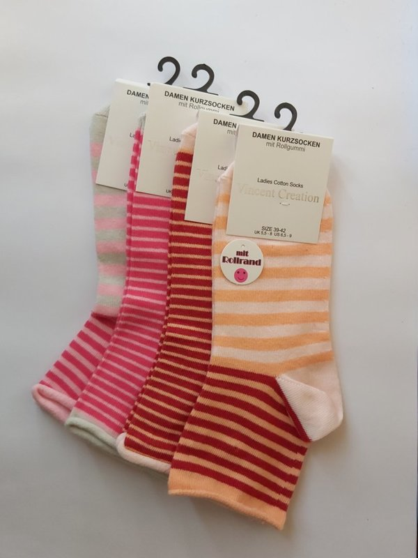 Dames berry stripes enkelsokken 4-Pack